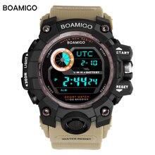 BOAMIGO marca hombre deportivo digital relojes militares UTC DST aumento de tiempo para despertar luz led 50 m natación impermeable reloj con banda de caucho
