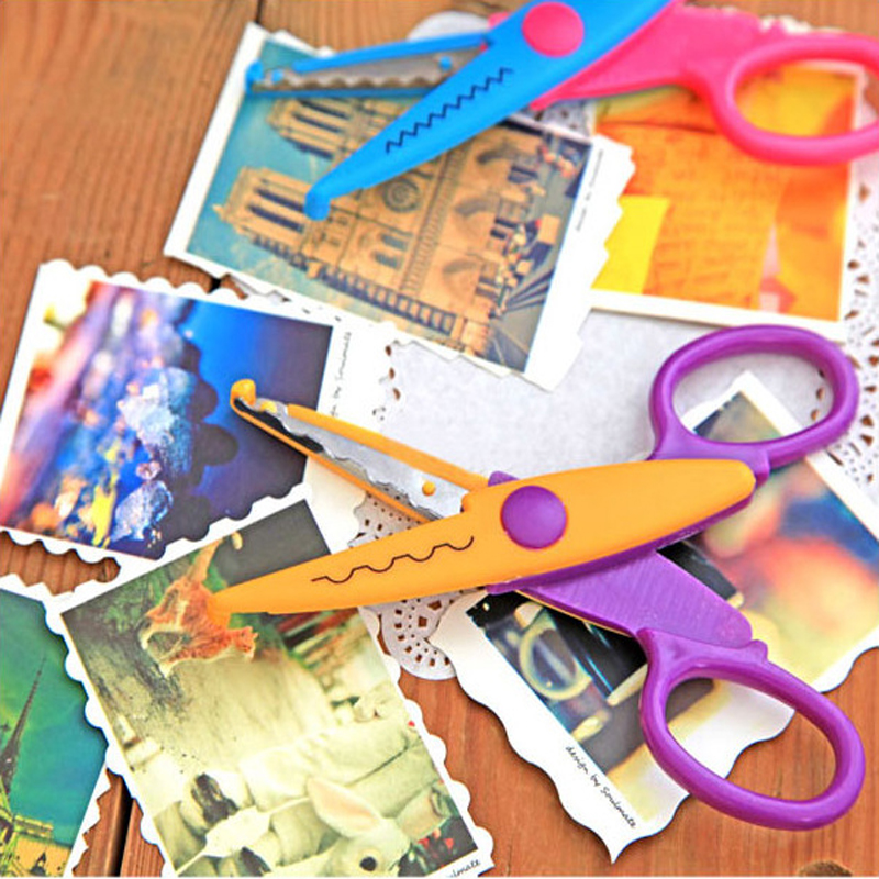 6 Style  Diy Scrapbooking Paper Photo Album Children Accessories Plastic Lace Card Decoration Zigzag Scissors For Needlework