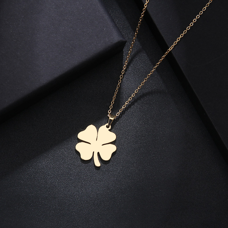 DOTIFI Stainless Steel Necklace For Women Man Lover's Clover Gold And Silver Color Pendant Necklace Engagement Jewelry(China)