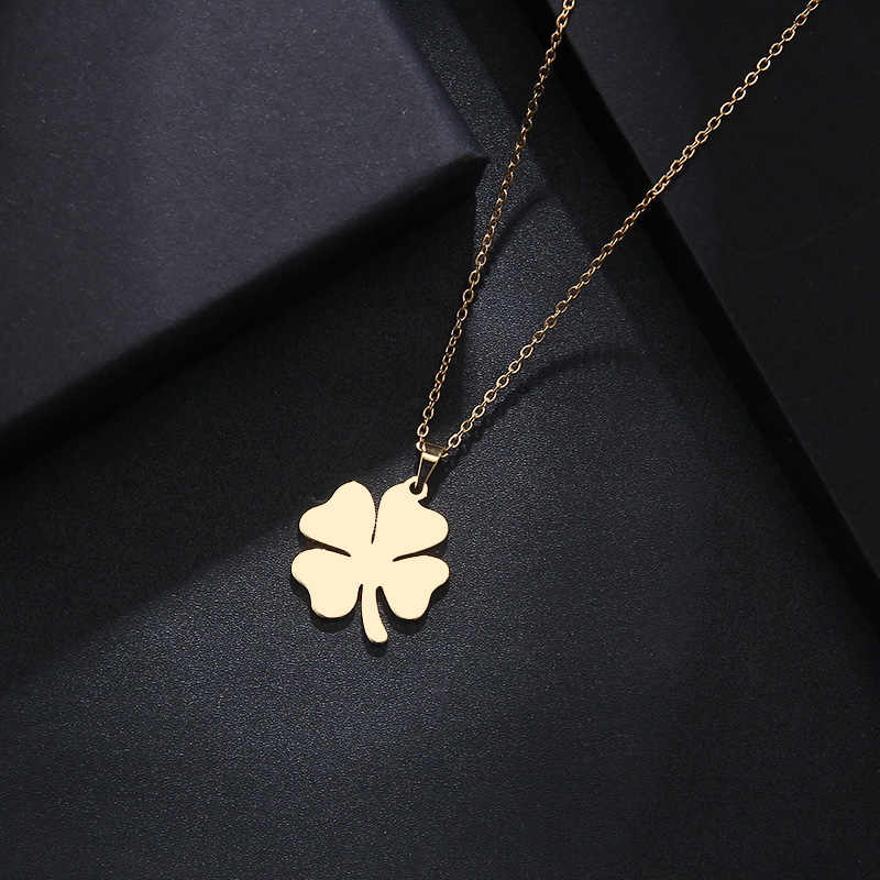 DOTIFI Stainless Steel Necklace For Women Man Lover's Clover Gold And Silver Color Pendant Necklace Engagement Jewelry
