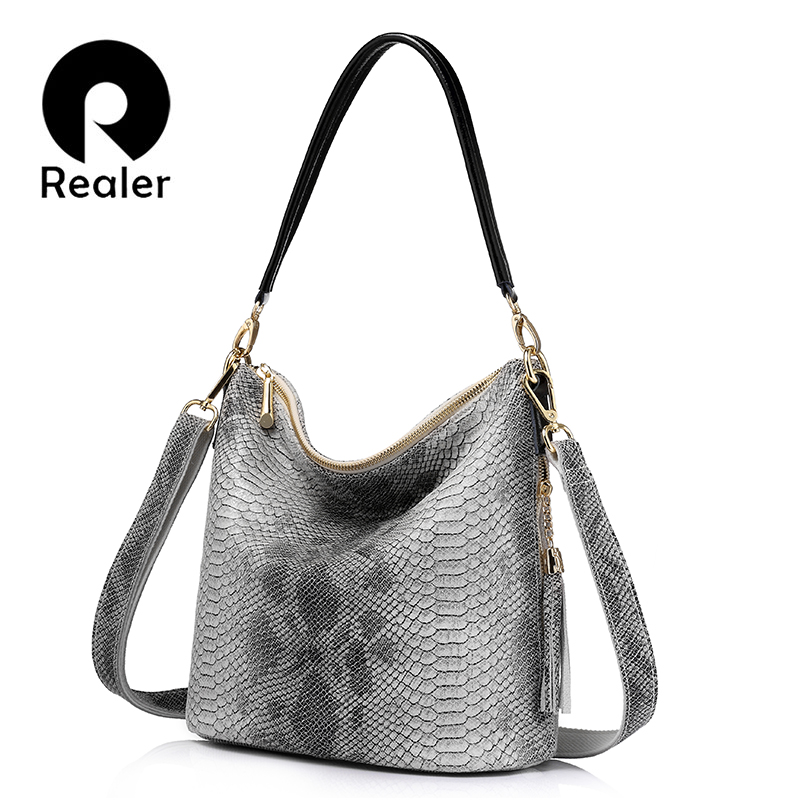 REALER brand genuine leather handbags women shoulder bags serpentine pattern bag female casual Messenger bags with tassel bag realer brand women shoulder bag with