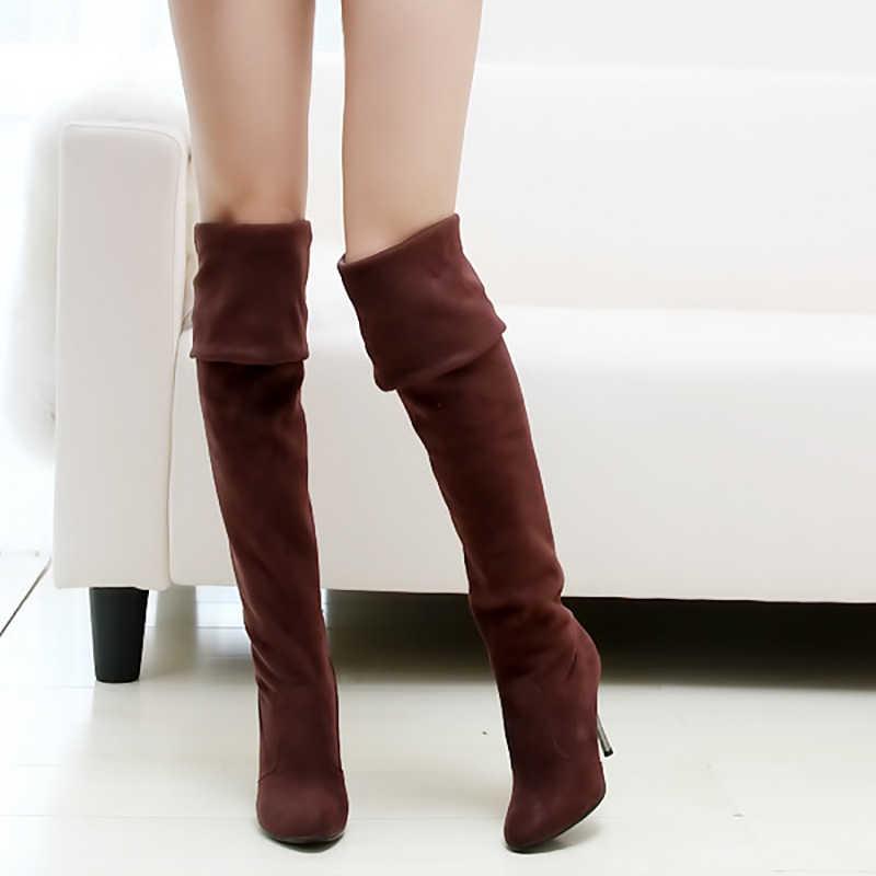 Сапоги выше колена; женская обувь; пикантные сапоги на высоком каблуке; женские сапоги до колена; Женская Осенняя обувь на шпильке; большие размеры 42-43