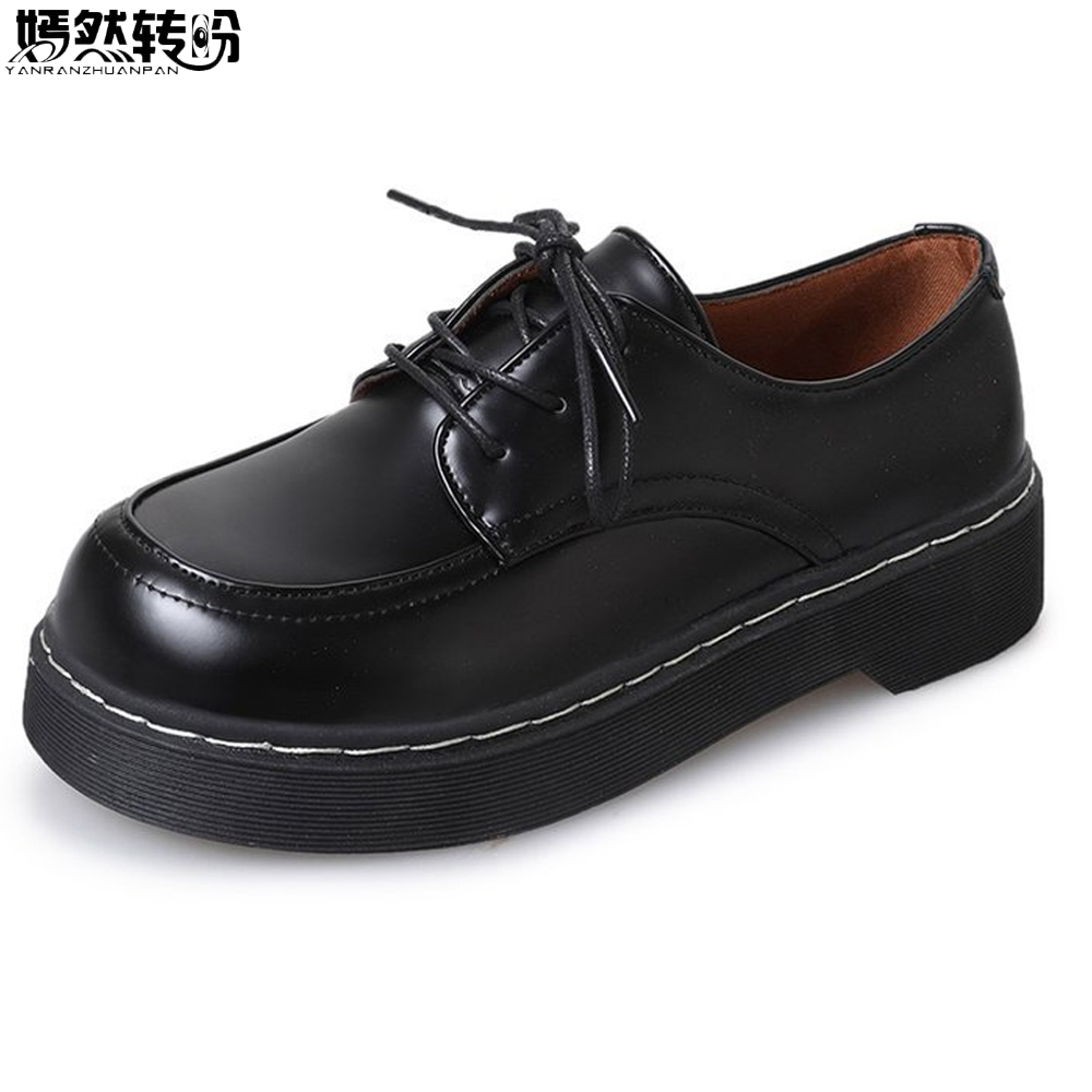 Women School Student Uniform Shoes Mori Girl Single Shoe College Uwabaki JK Round Toe Oxforda Cosplay Flat Shoes Black / Brown