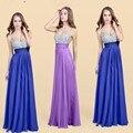 2017 plus size vestidos de festa de luxo cristal real gelo azul v neck mangas até o chão beading chifffon um line longo do baile de finalistas vestidos