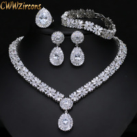 CWWZircons 4 Piece Super Sparkling Cubic Zirconia Stone Fashion African Nigerian Women Wedding Jewelry Set For