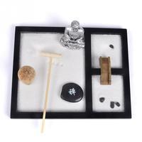 MDF Wooden Base Zen Sand Garden Decoration White Sand Feng Shui Supplies 1 Set handmade+ machine #0817