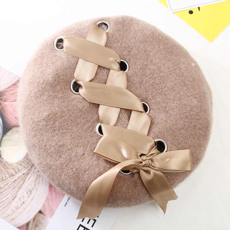 ... VISROVER New Sweet Cute Berets Women Winter Hats Soft Macaron color Ribbon  Woolen Lolita Beret classical ... 7ea8888cd51