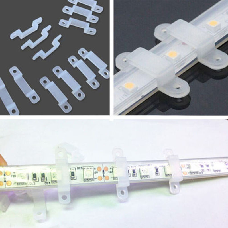 Image 2 - 5000Pcs 10000Pcs 20000Pcs LED Fixing Silicone Mounting Clips 10mm 15mm buckles clamps For 220V 110V Waterproof LED Strip Light Tape-in Connectors from Lights & Lighting