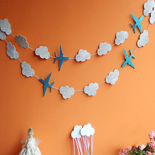 Clouds&Planes Banners Party Decoration Blue Baby Showers Garlands Kids Birthday Event Supplies Happy Hanging Background Garlands lovely cartoon banners clouds and airplanes garland party decorations blue baby showers kids birthday supplies