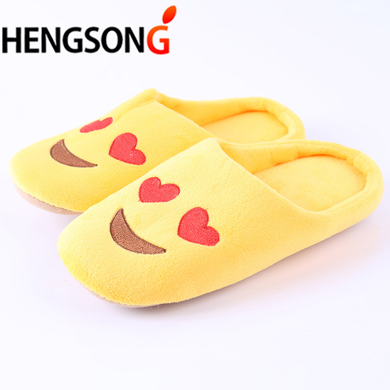 Funny Emoji Slippers Women Men Soft Winter Home Indoor Slippers Warm Cotton-Padded Lovers Couples Home Slippers Indoor Shoes 2017 new home slippers women emoji soft cute cartoon slippers for women winter warm plush indoor home shoes winter soft cotton
