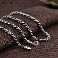 3mm Retro Twist Rope Chain Necklace for Men Women 925 Sterling Silver Necklace Mens Black Thai Silver Jewelry