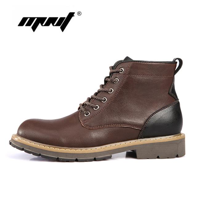 Los Hombres de Cuero genuino, Botas de Alta Calidad Botas de Invierno Cálido, Zapatos impermeables Botas de Nieve de Moda de Otoño E Invierno