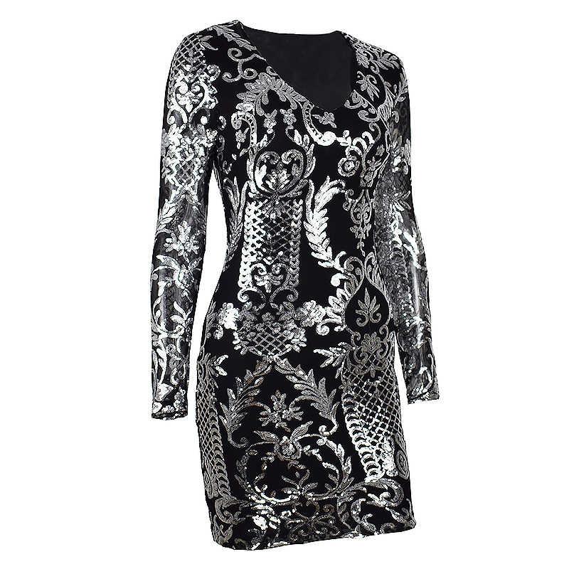 Женское повседневное платье мини NewAsia Garden, праздничное платье с длинным рукавом и блестками, привлекательное облегающее платье, клубные платья