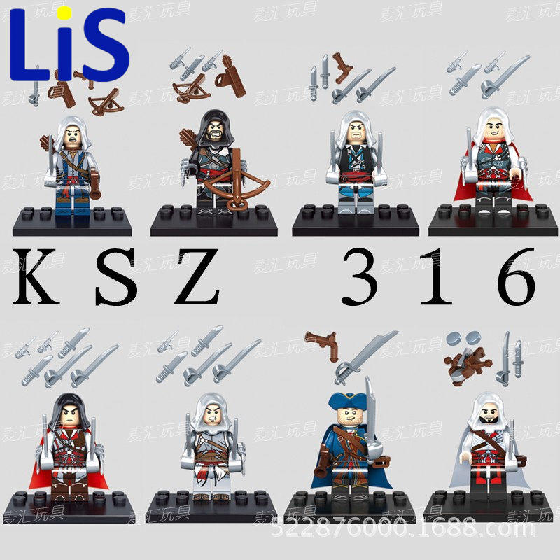 Lis Building Blocks Assassins Creed 4 Kenway Blcak Flag Edward James Connor Haytham E Altair Ezio Super Heroes Toy KSZ316