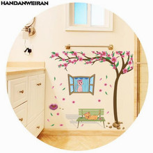 1 PCS Romantic Peach Cat Wall Sticker For Girls Childrens Room Kindergarten Crib Decoration Stickers 60*90cm HANDANWEIRAN