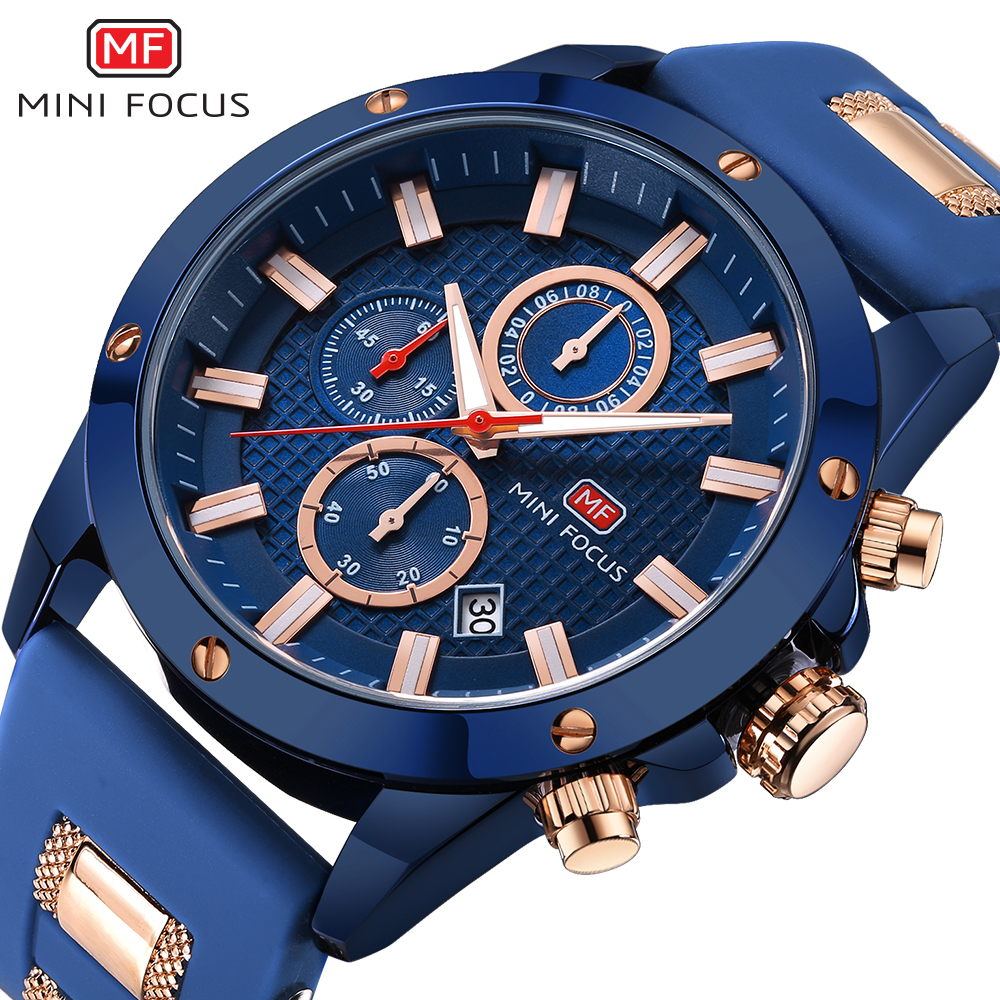 MINI FOCUS Top Brand Luxury Chronograph Men Quartz Sports Watches Men Military Army Silicone Strap Wrist Watch Male Blue Clock weide new men quartz casual watch army military sports watch waterproof back light men watches alarm clock multiple time zone