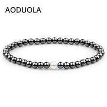 Natural stone Black Hematite pearl Bracelet Elastic Beaded Bracelets Adjustable Charm Bracelets Friendship women couple jewelry faux pearl charm beaded bracelets set