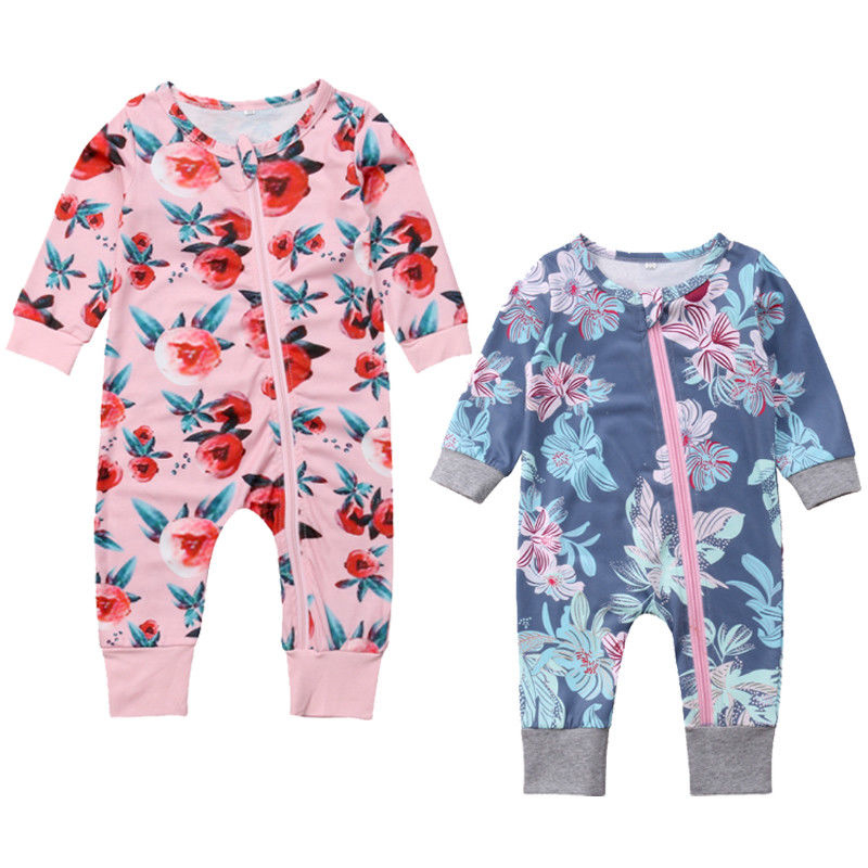 Newborn Baby Girls   Romper   Infant Toddler Kids Long Sleeve Zipper Floral Cotton   Romper   Jumpsuit Pants Outfit Pajama Clothes