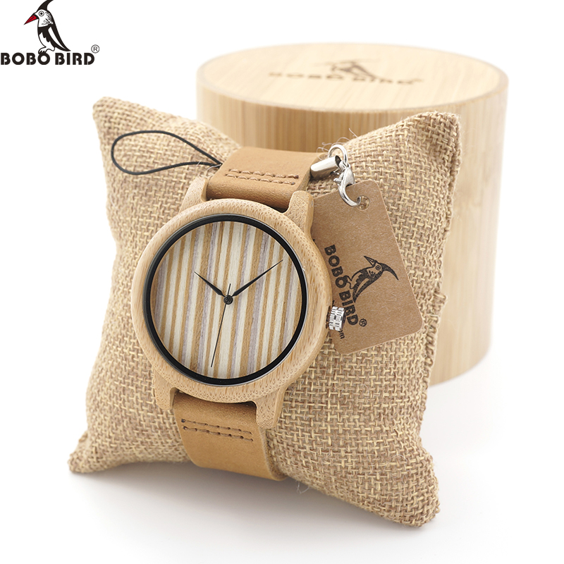 BOBO BIRD Wooden Watch Men Casual Sport Dress Watches Japan Quartz Movement with Genuine Leather Band