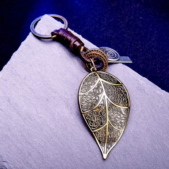 Brass leaf pendant for key Leather keychain keyring key chain ring holder cover for men's car keys women purse charms on a bag