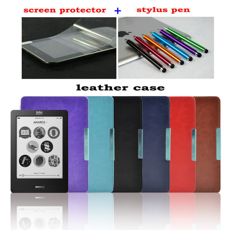 magnetic hard leather cover case funda for Kobo touch N905 A B C ereader 6 shell skin + screen protector+Stylus Pen