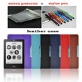 "magnetic hard leather cover case funda for Kobo touch N905 A B C ereader 6"" shell skin + screen protector+Stylus Pen"