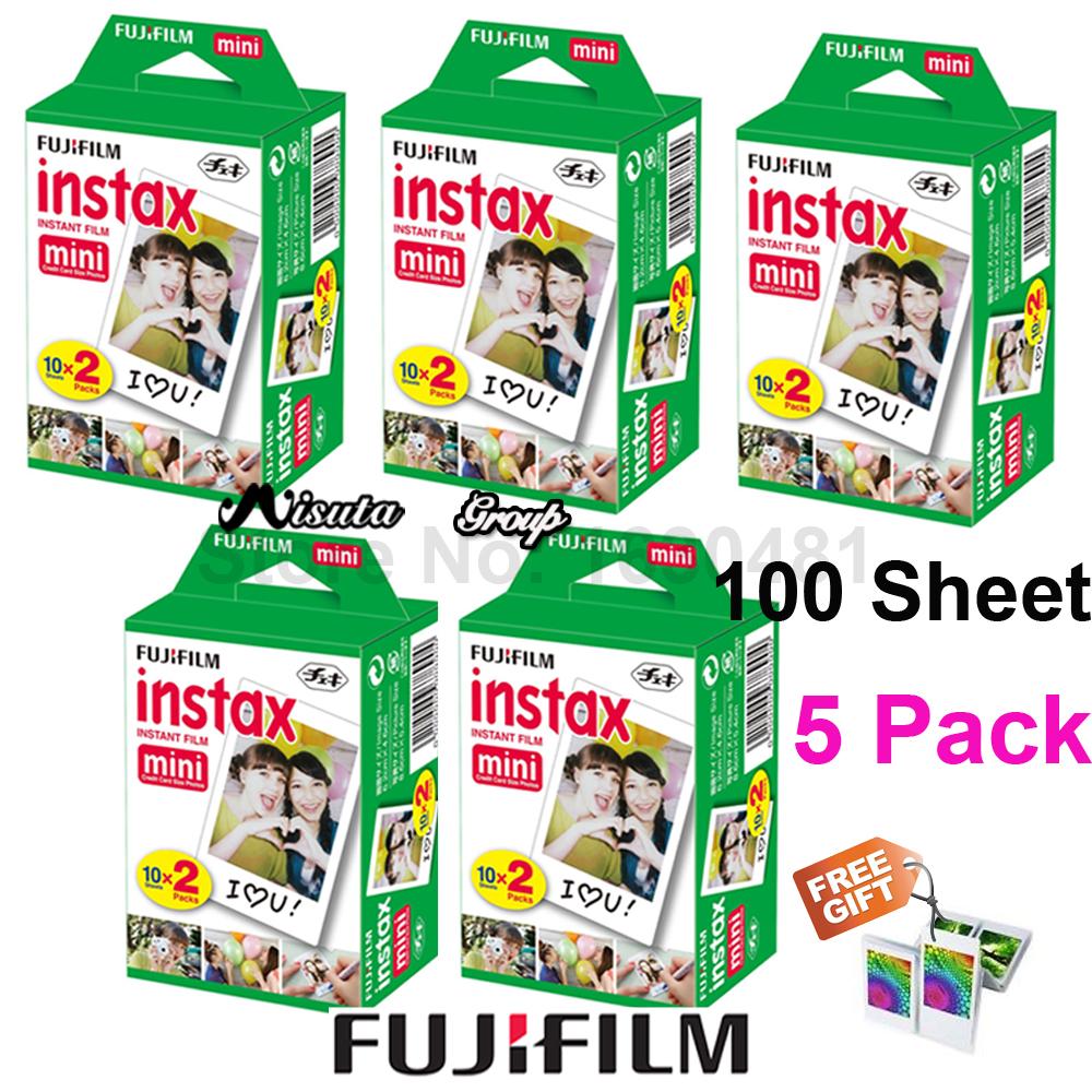 Prix pour D'origine 100 feuille fujifilm fuji instax mini blanc film instantané photo papier pour Instax Mini 8 70 25 Caméra SP-1 SP-2 + Cadeau Gratuit
