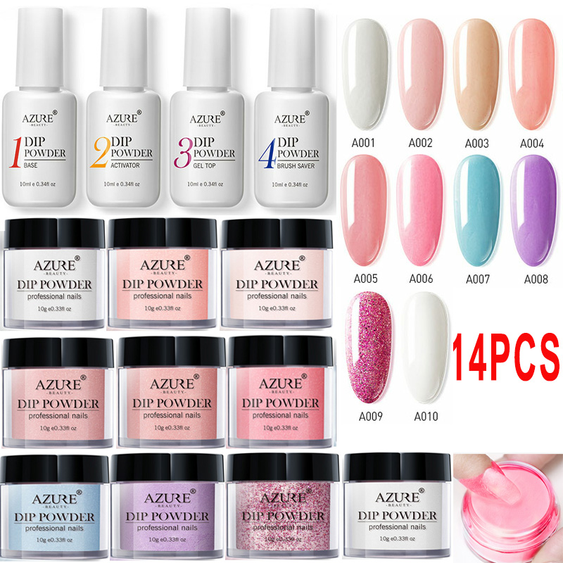 US $15 4 50% OFF|Azure Beauty 14Pcs/Lot Full Set Dipping Powder Base Top  Coat Kits DIY Dip Nail Powder Manicure Set Brush Saver Powder-in Nail  Glitter