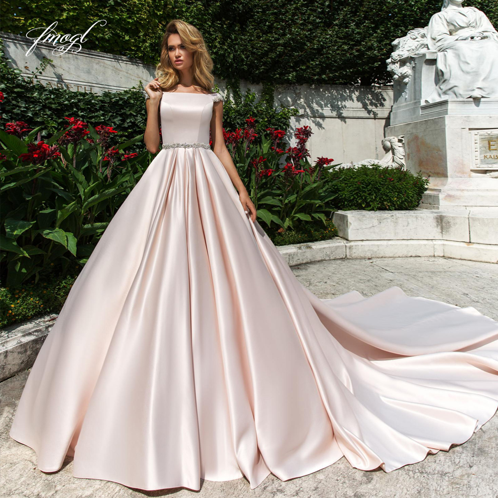 Wedding Gown With Neck Detail: Fmogl Luxury Matte Satin Princess Ball Gown Wedding Dress