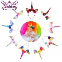 Nishine Handmade Kids Party Gold/Silver Unicorn Horn Headband Flower Girls Headwear Birthday Hairband Hair Accessories