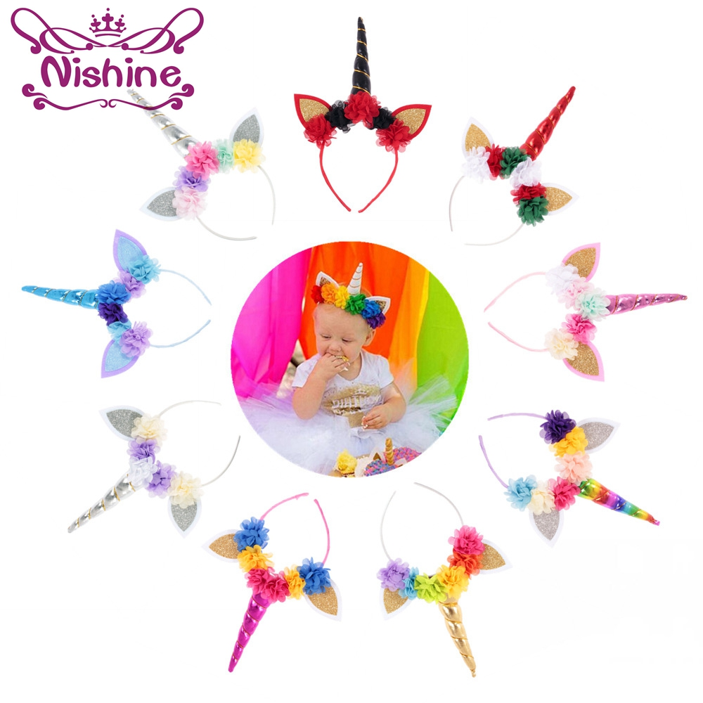Nishine Handmade Kids Party Gold/Silver Unicorn Horn Headband Flower Horn Girls   Headwear   Birthday Hairband Hair Accessories