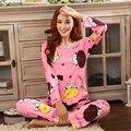 Envío gratis 2016 Del Otoño Del Resorte Para Mujer Pijama O-cuello de Manga Larga Mujer ropa de Dormir Pijamas de las muchachas del camisón de las mujeres