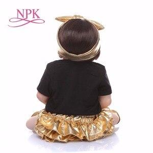 Image 5 - NPK 56 cm Silikon Volle Körper bebe Puppe reborn baby Echt Leben goldene Prinzessin Baby Puppe Für Weihnachten Geschenk Wasserdicht bad spielzeug weiche spielzeug