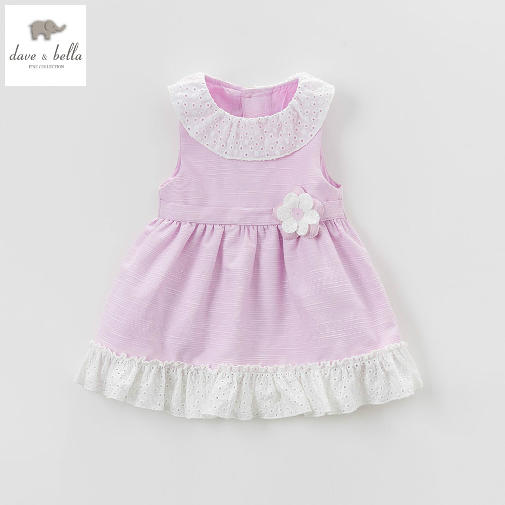 все цены на DB4931 dave bella summer baby girls princess dress baby purple dress kids birthday clothes dress girls lolita dress в интернете