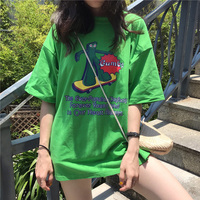 2019 Top Unicorn Korean Tumblr Tshirt Women Cotton New Style Knitted Loose Sleeve Long Cloth Letter Printed O neck