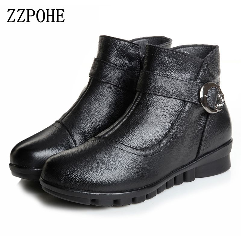 ZZPOHE Women Boots Winter New Fashion Female Shoes Woman Genuine Leather Wedges Ankle Boots Soft bottom Warm Women Snow Boots free shipping women fashion winter shoes genuine leather ankle boots wedges female winter working boots plus size 34 41