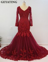 Burgundy Mermaid Evening Dresses Long Sleeves Lace Appliques Long Prom Dress 2018 Wine Red Imported Party