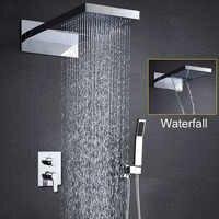 Łazienka prysznic zestaw do montażu na ścianie prysznic zestaw słuchawkowy deszcz Douche wodospad prysznice prysznic z hydromasażem Panel nowoczesne baterie nad głową do kąpieli