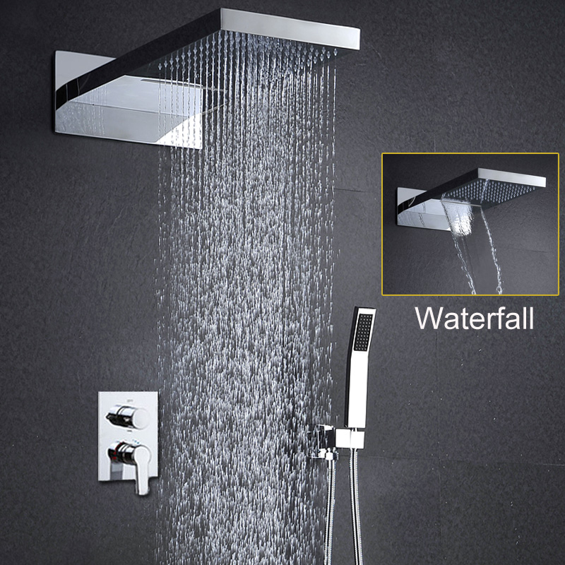 Bathroom Shower Set Wall Mounted Shower head Set Rain Douche Waterfall Showers Massage Shower Panel Modern Faucets Overhead Bath