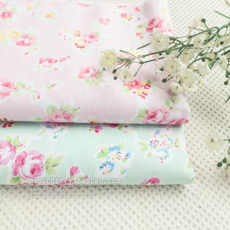 2pcs 4050cmpink blue roses shabby chic beautiful roses printed cotton fabric for