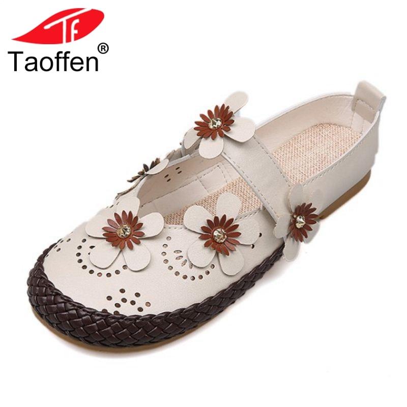 baa22a26ea41b TAOFFEN Fashion Women Flats Shoes Round Toe Hole Flower Thong Buckle Shoes  Summer Leisure Shoes Women Footwear Size 35-39