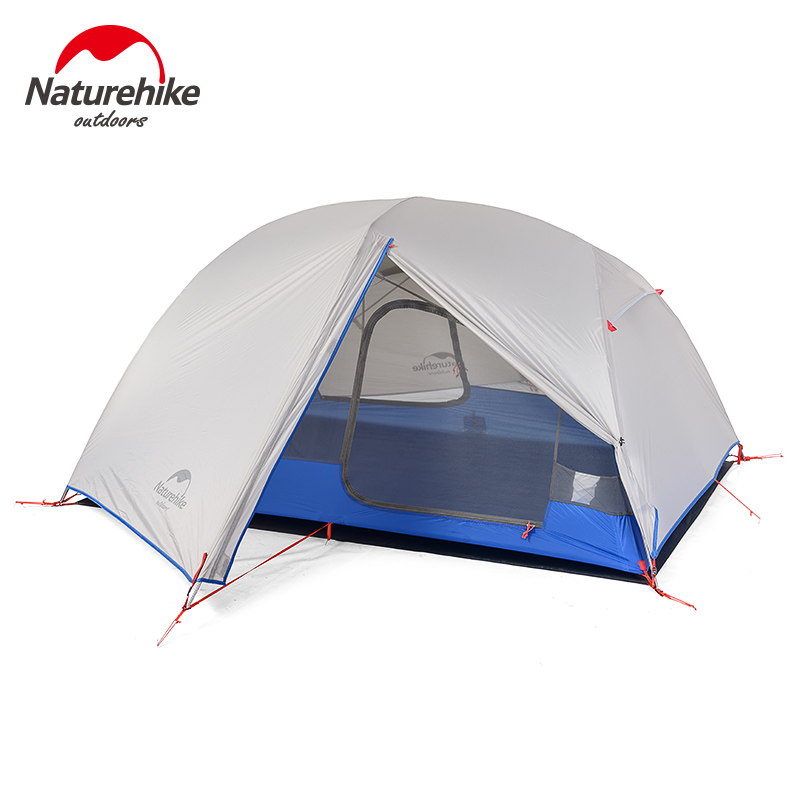 Naturehike 2 person camping tent 2 ultralight 20D silicone hiking tent double layers rainproof NH outdoor big room tent 2018 hillman camping tent high mountain highland snow mountain double layers silicone coating tents super windproof rainproof