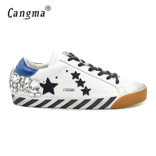 CANGMA Original Italy Deluxe Brand Men Shoes Superstar Genuine Leather White Mens Shoes Diamond Crystal Zapatos Hombre Star 2017