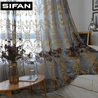 High Quality European 3D Embroidered Peony Tulle Voile Curtains For Living Room Window Curtains For The