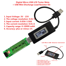 Preto Micro USB Digital LCD USB Mini Tester Atual do Medidor + Mini USB de Carga De Descarga Resistor 2A/1A Com interruptor
