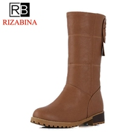 RizaBina Classic Women Mid Calf Boots Bowknot Round Toe Slip On Flats Shoes Solid Color Winter Warm Ladies Boots Size 33 43