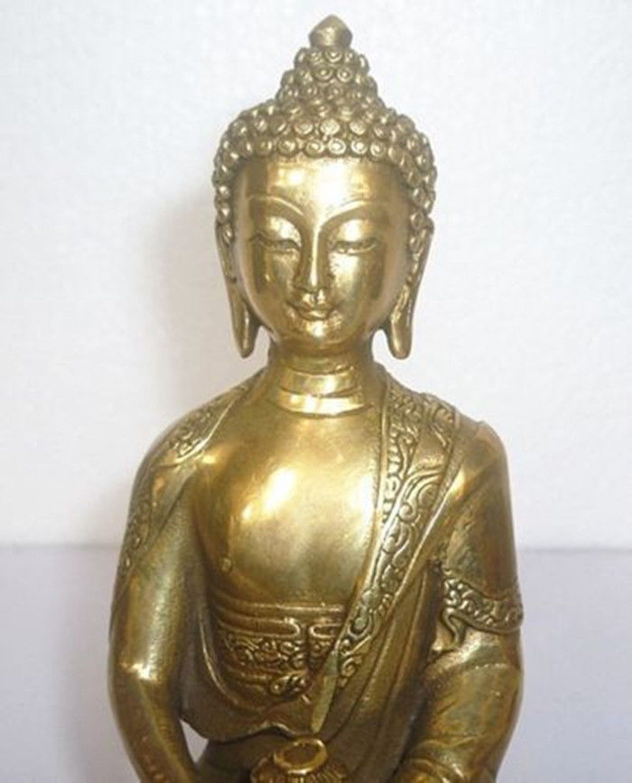 Fashion Style Old Purple Bronze 24k Gold Gilt Shakyamuni Sakyamuni Amitabha Buddha Statue Set Antiquities Antiques