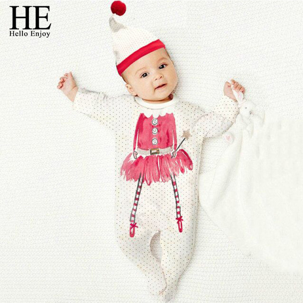 Hello Enjoy Christmas baby rompers Casual baby girl clothes newborn long sleeve dot jumpsuit climb suit + lovely hat clothing newborn baby rompers baby clothing 100% cotton infant jumpsuit ropa bebe long sleeve girl boys rompers costumes baby romper