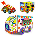 Children 3D puzzle craft car vehicles/ Kids DIY handmade color paper sticker for bus racing car for educational toys