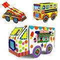 Los niños del rompecabezas 3D artesanía coche vehículos/Niños DIY etiqueta engomada de papel de color hecho a mano para el autobús de carreras de coches de juguetes educativos